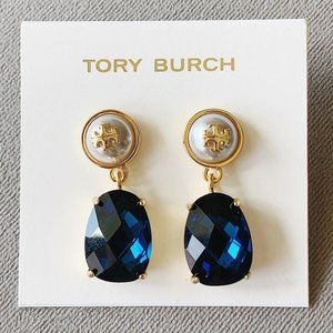 Tory Burch-blue crystal drop pearl earrings